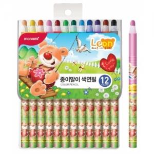 모나미 12색 축지식 색연필 레온(남) 신, 개